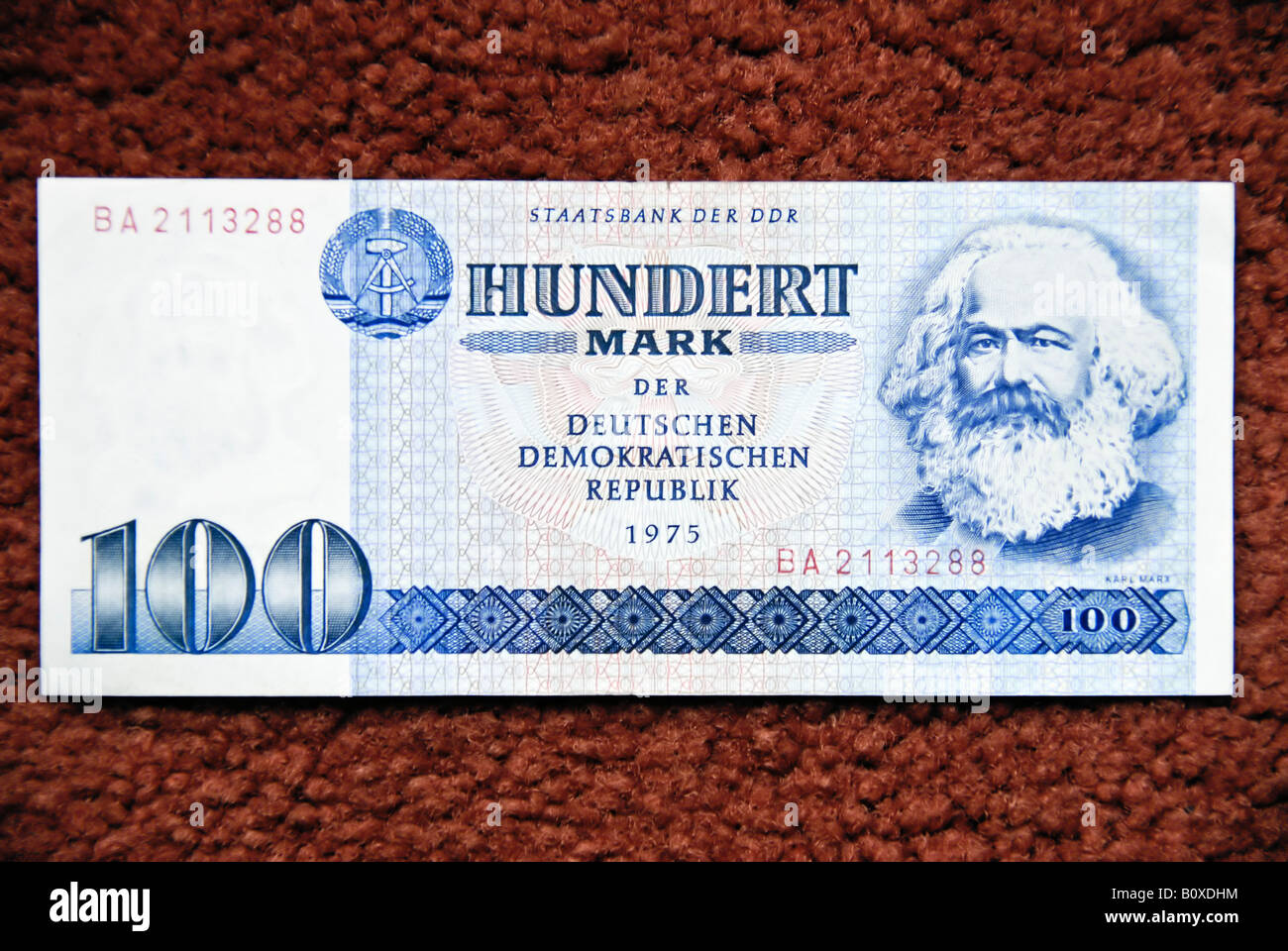 """Former East Berlin"" Germany Front of ""Bank Note"" ""100 East German"" ""D.D.R"" Marks with Illustration of ""Karl Marx"" Stock Photo"