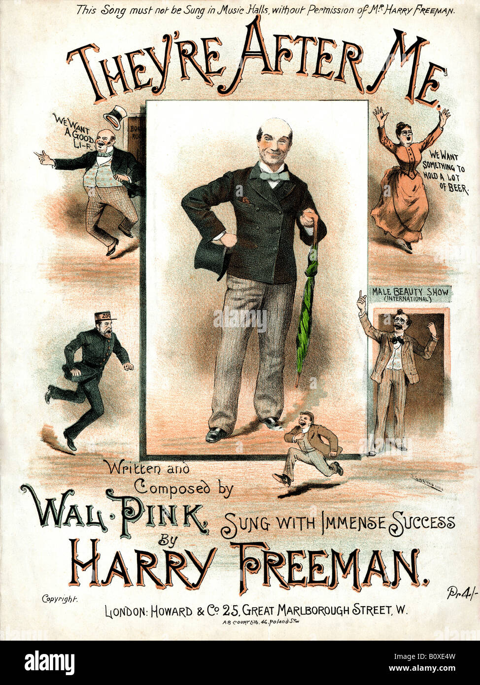 Theyre After Me Victorian music sheet cover for a comic song sung by a paranoid Harry Freeman - Stock Image