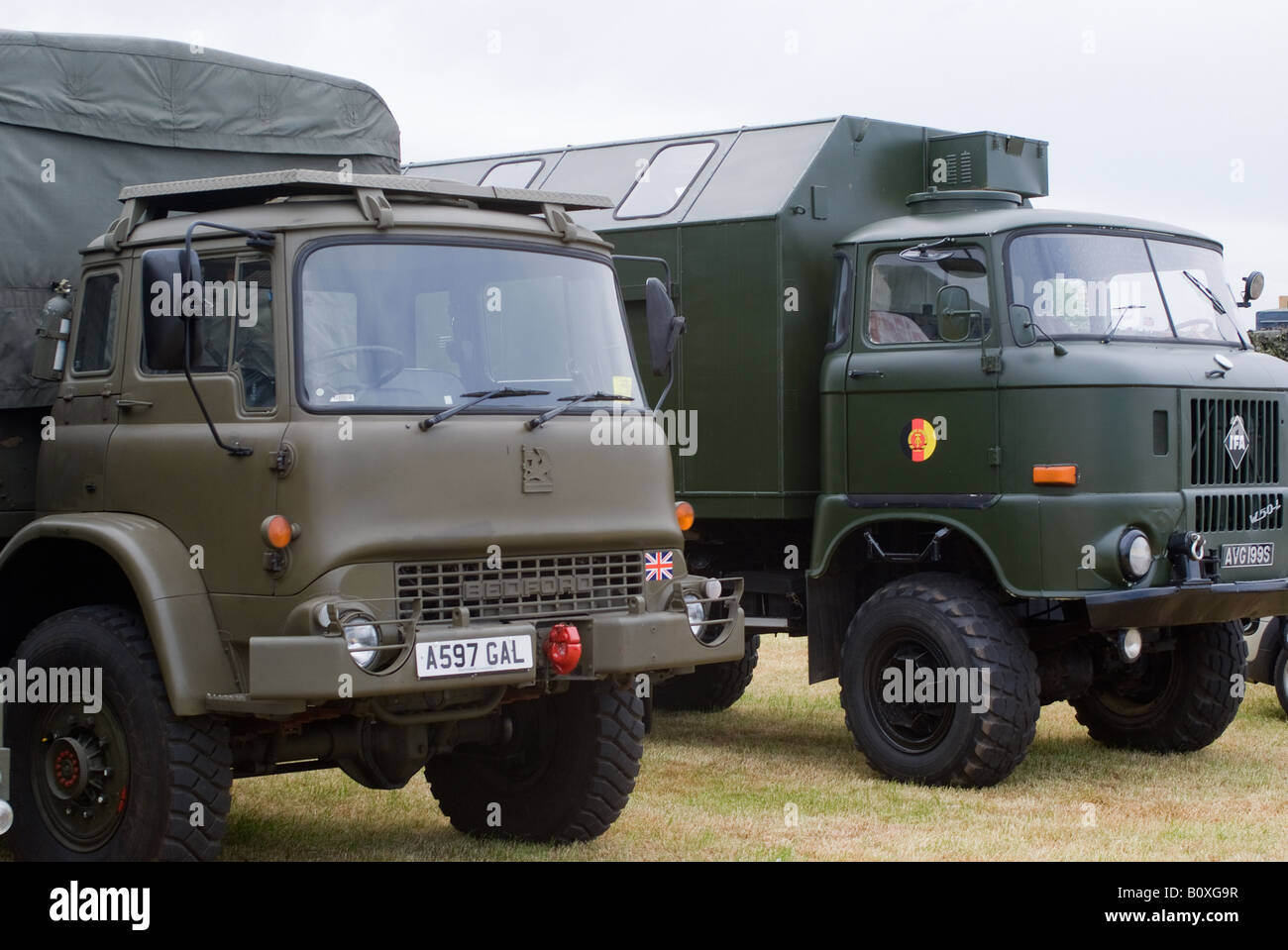 British Army Bedford All Wheel Drive and East German IFA W50 Trucks at Smallwood Vintage Rally Cheshire England - Stock Image