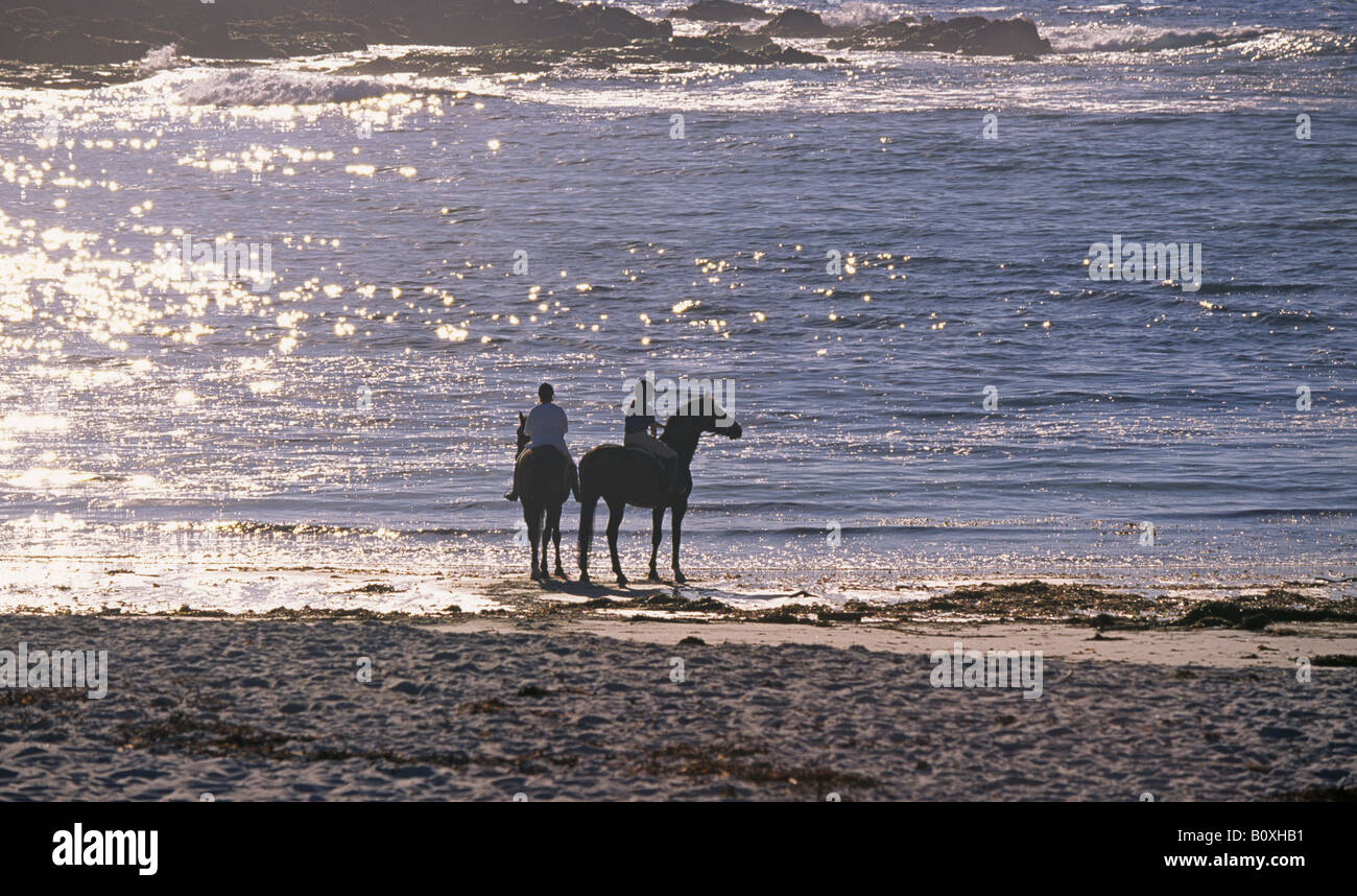 Two horsewomen ride along the beautiful shore on the 17 Mile Drive Seventeen mile drive near Carmel and Pebble Beach - Stock Image