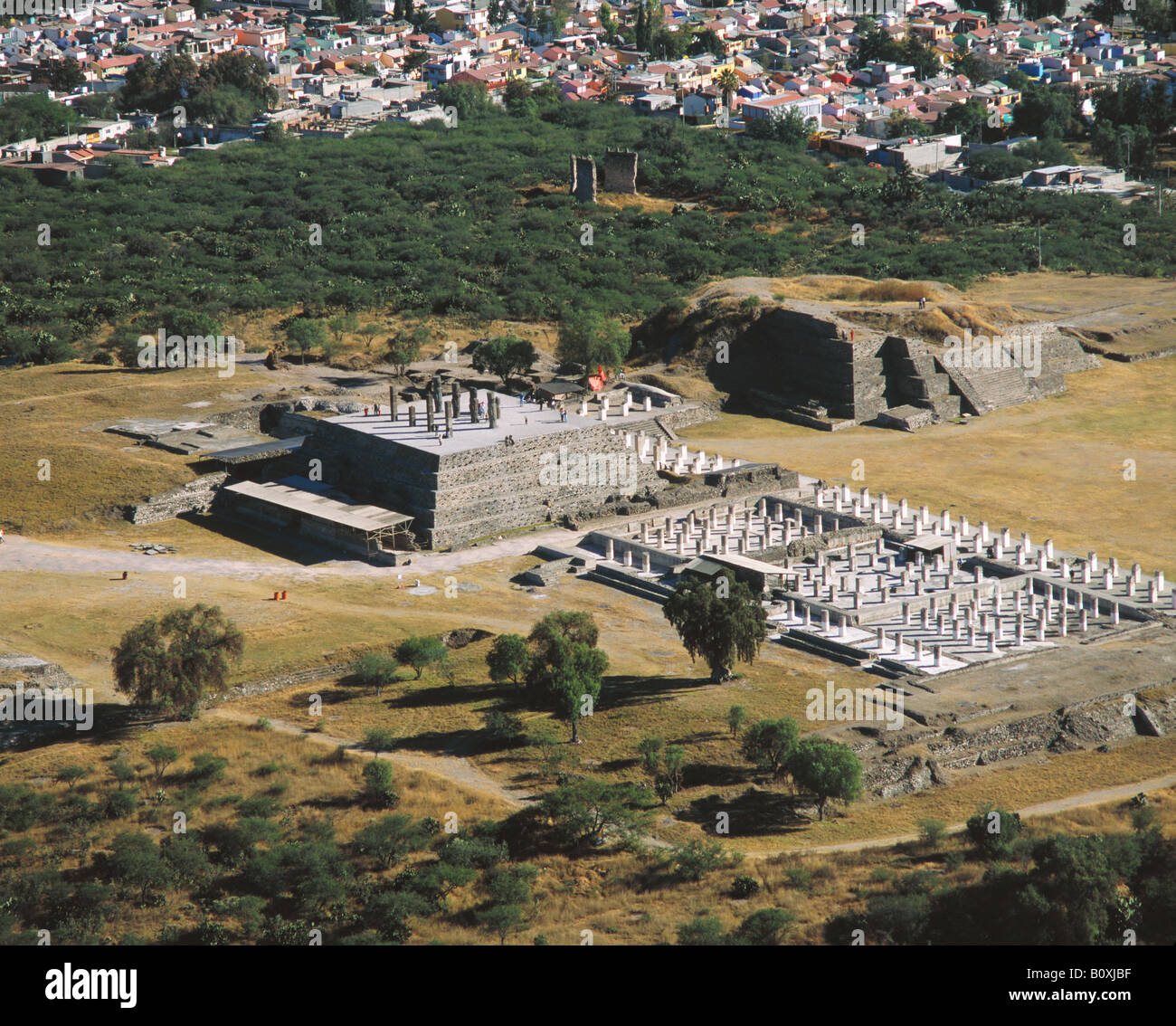 aerial above Gigantes de Tula Mexico Giants of Tula archeological site - Stock Image