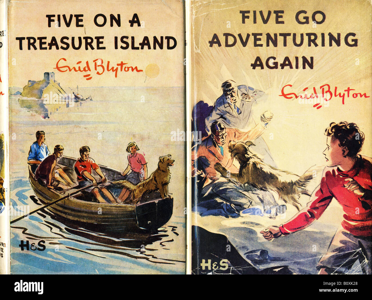 The First two Famous Five Children's Hardback Books by Enid Blyton 1940s FOR EDITORIAL USE ONLY - Stock Image
