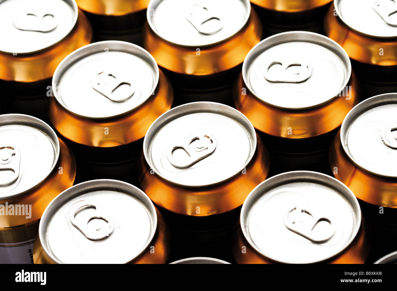 Beer cans, elevated view - Stock Image