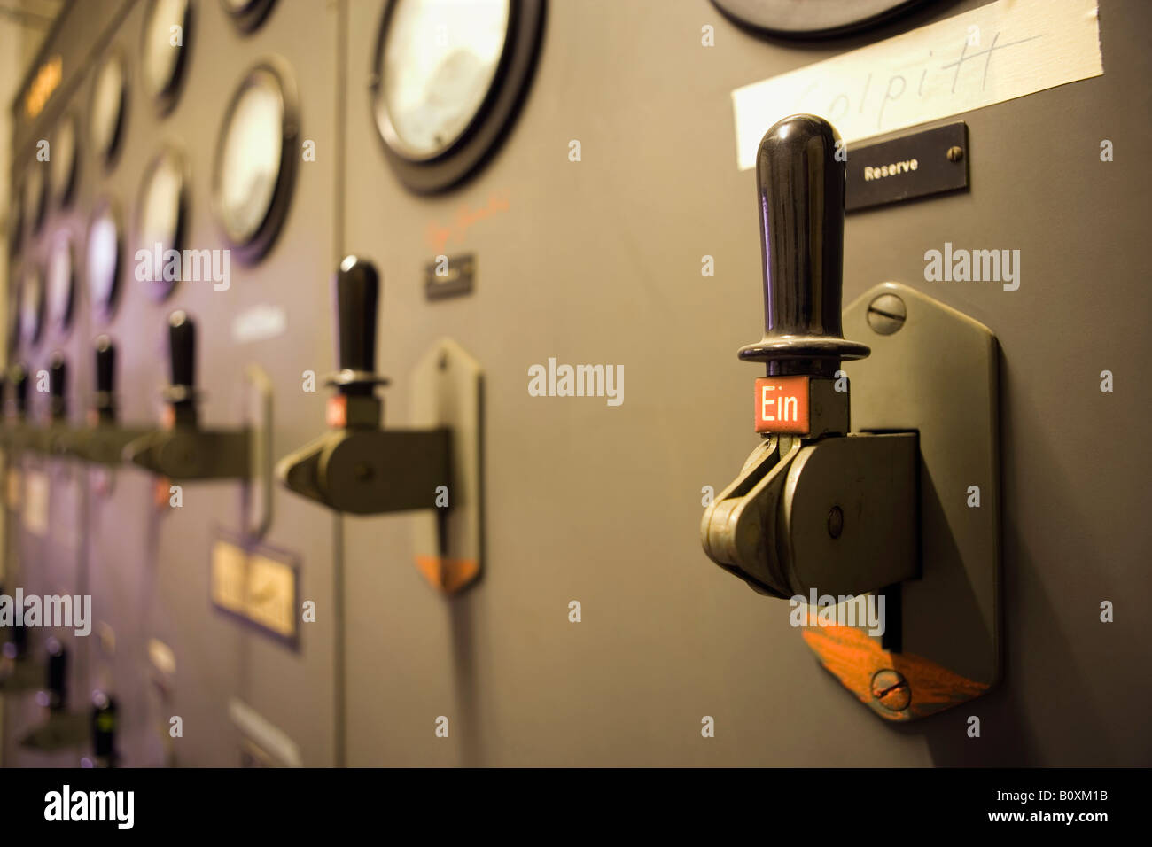 Heating station, control lever - Stock Image