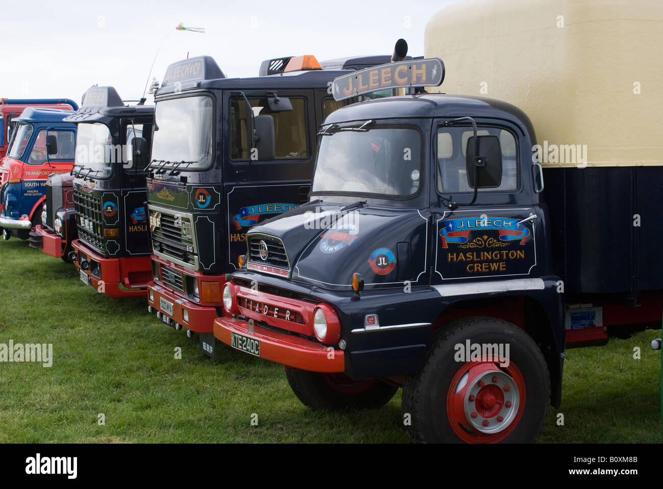 1965 Ford Thames Trader Van with ERF Trucks at Smallwood Vintage Rally Cheshire England United Kingdom UK - Stock Image
