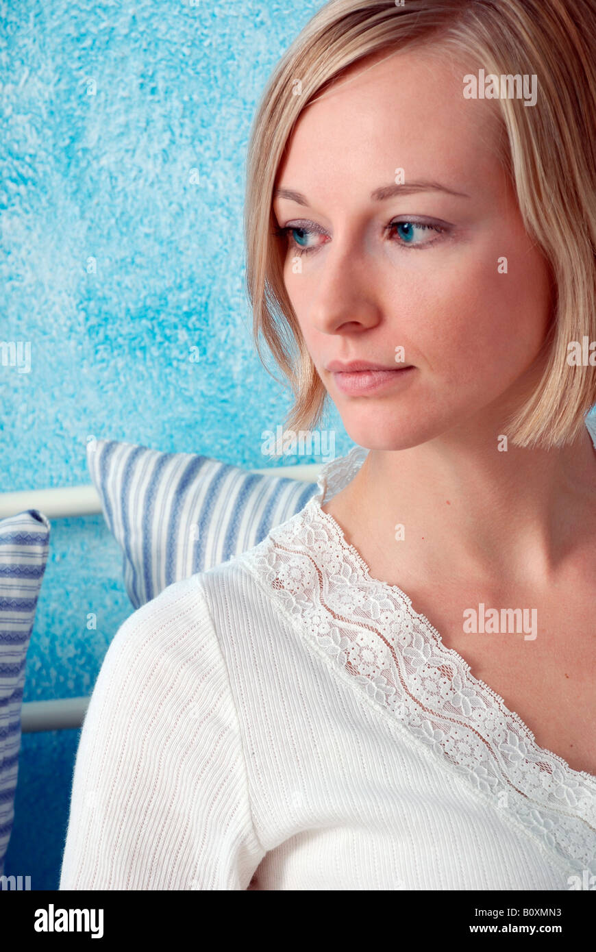 Blonde woman, portrait - Stock Image