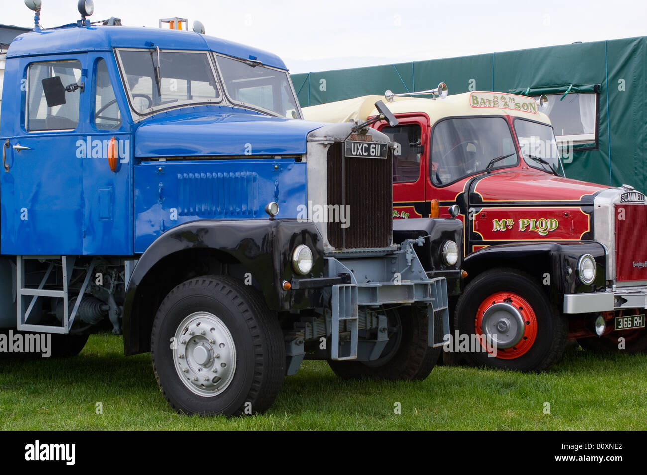 Scammell Junior Constuctor Wrecker and Highwayman Trucks at Smallwood Vintage Rally Cheshire England United Kingdom - Stock Image