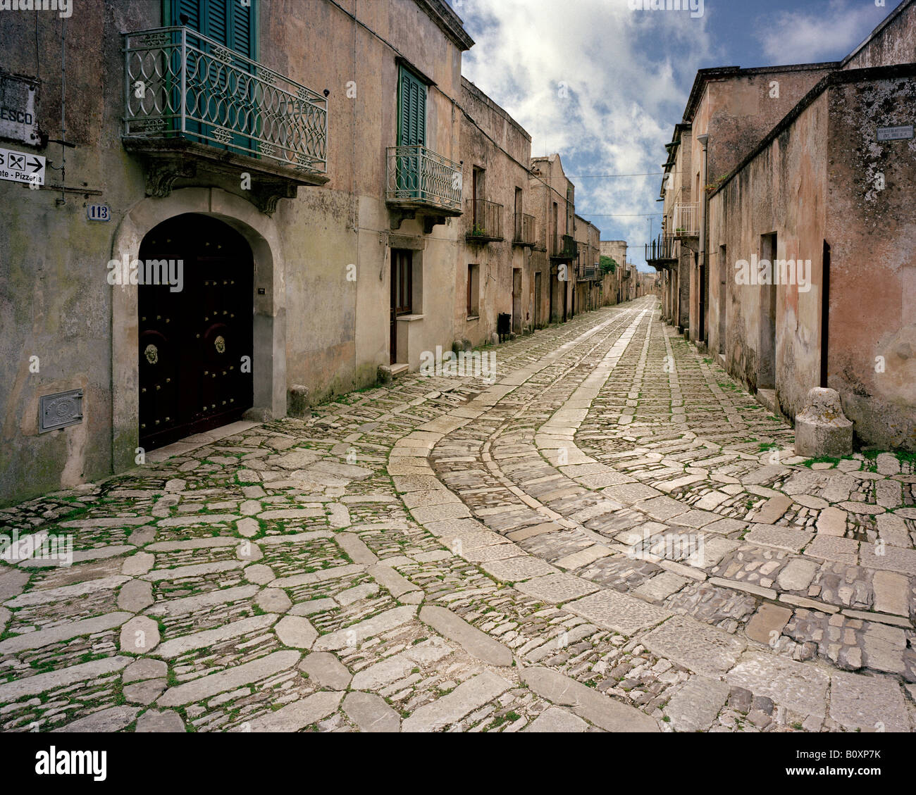 Cobbled streets of Erice Sicily Italy EU - Stock Image