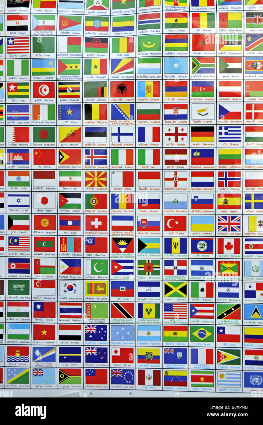 national flags as stickers, Thailand, Bangkok - Stock Image