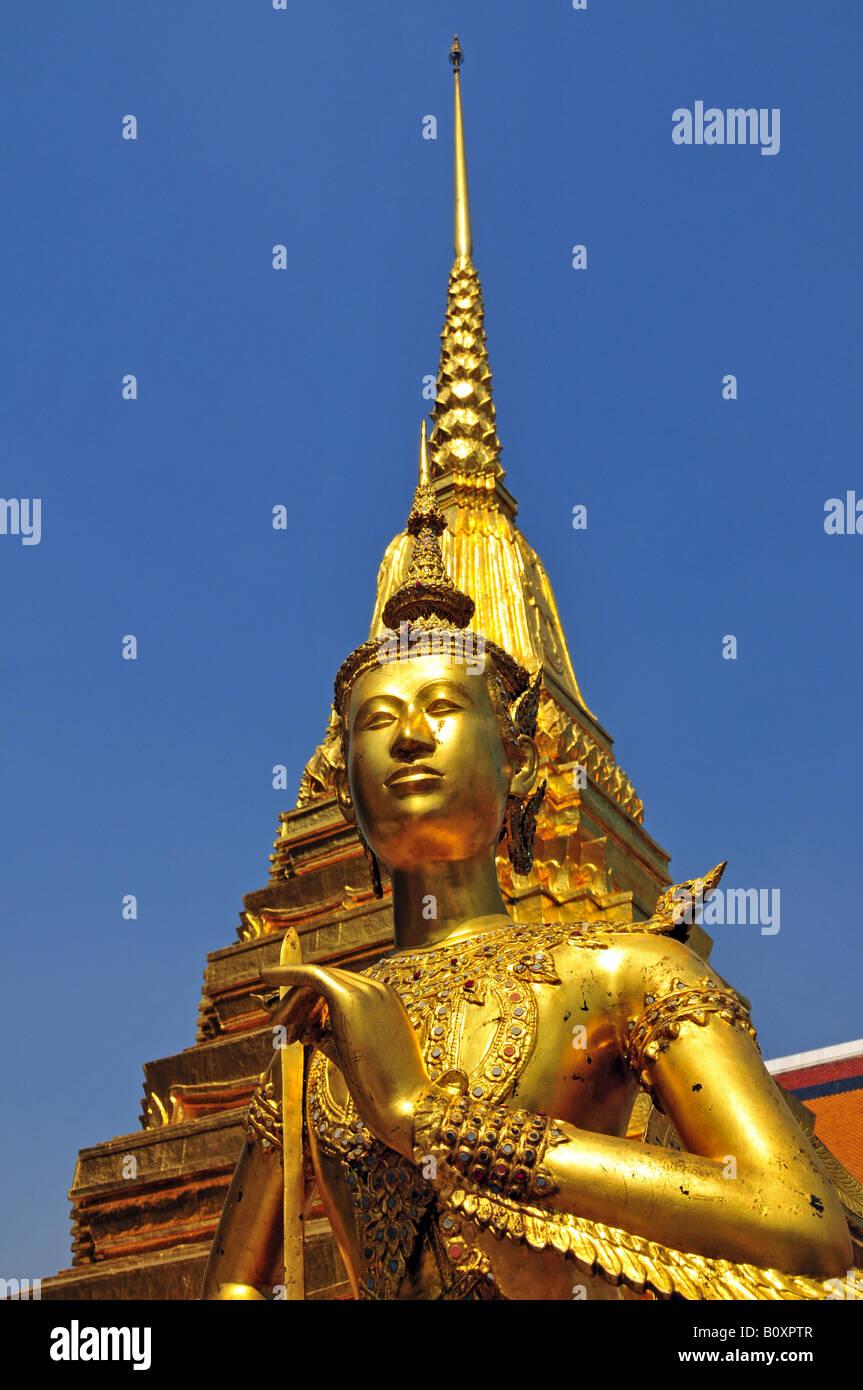 Kinnara, a mythical bird creature at the Grand Palace (Wat Phra Kaeo), Thailand, Bangkok - Stock Image