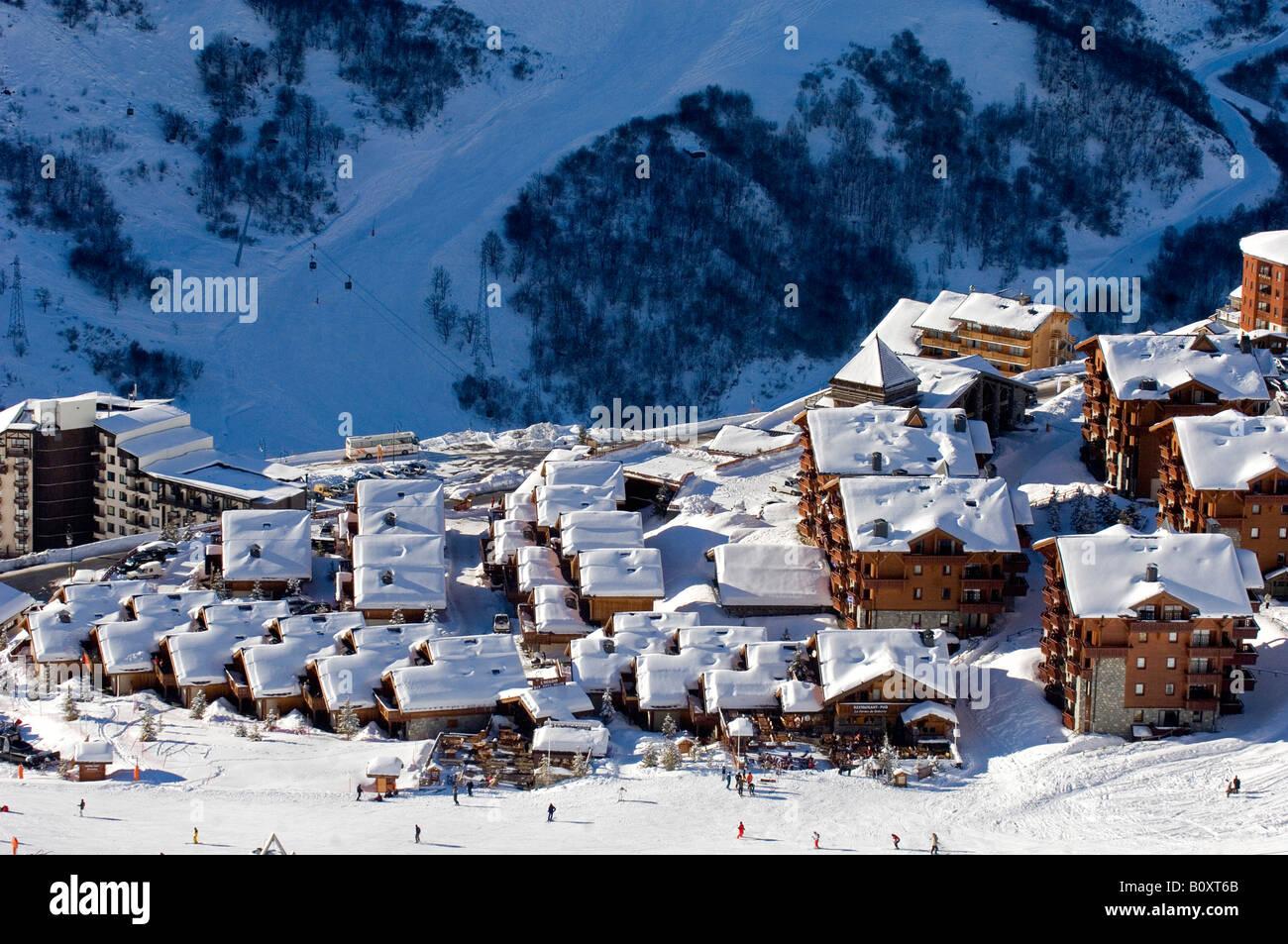 village in the ski resort Les Mnuires, France, Alps Stock Photo