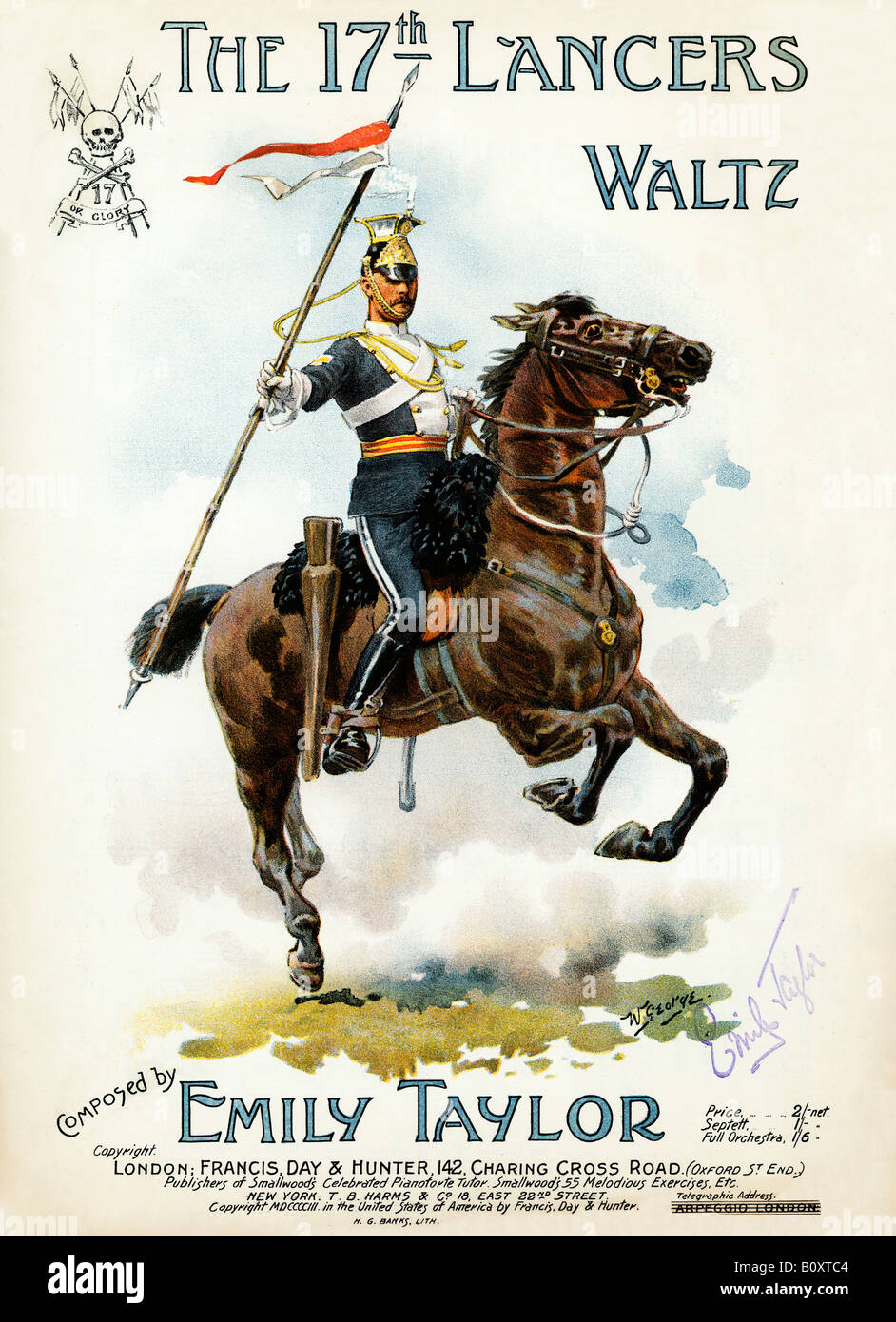 17th Lancers Waltz Edwardian music to celebrate the cavalry regiment that took part in the Charge of the Light Brigade - Stock Image