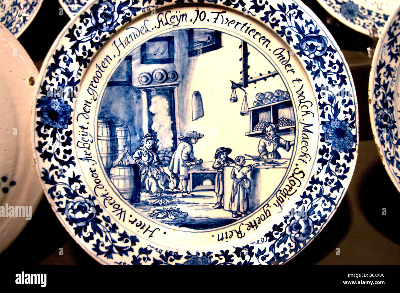 Delfts Blauw  Delftware or Delft pottery is blue and white pottery traditionally made in and around Delft Netherlands - Stock Image
