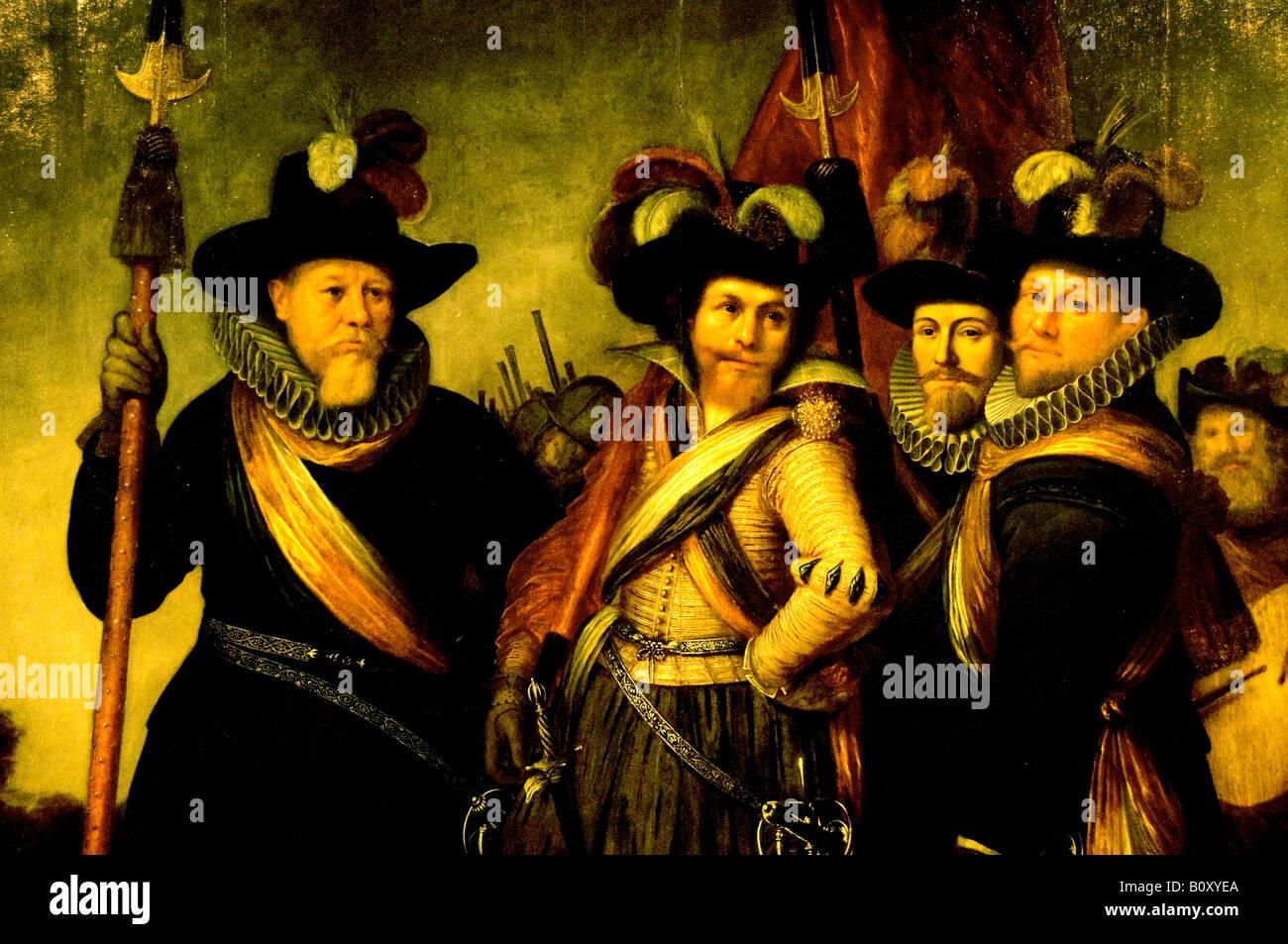 The leaders of the orange militia company 1614 1617 ROCHUS JACOBSZ DELFF 1572 1617 PANEL Netherlands Holland Dutch - Stock Image