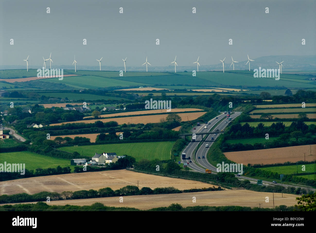 The Four Burrows Wind farm NW of Truro on the A30 in Cornwall Britain UK Stock Photo