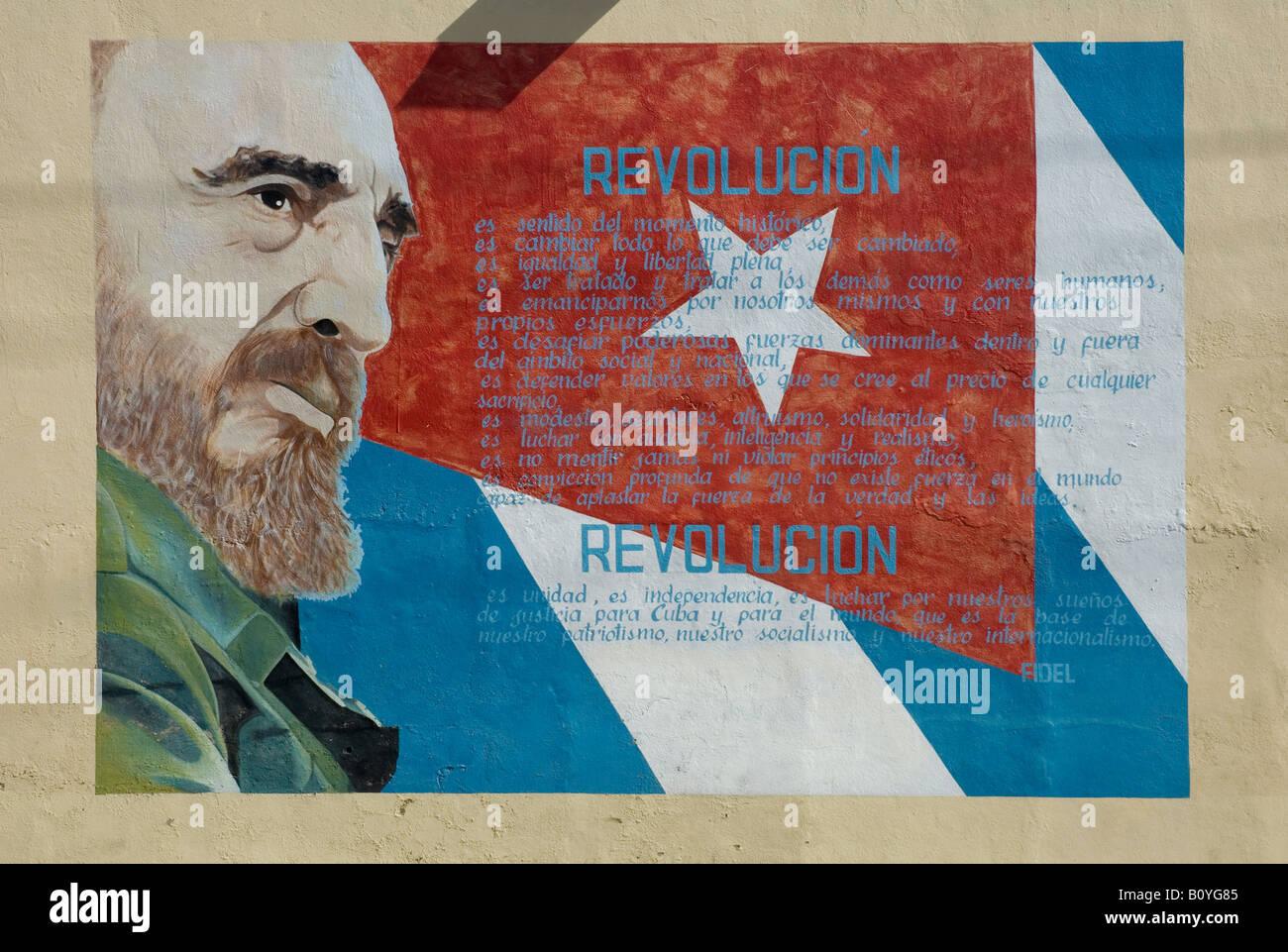 Mural featuring image of Fidel Castro in Cienfuegos, Cuba. Stock Photo
