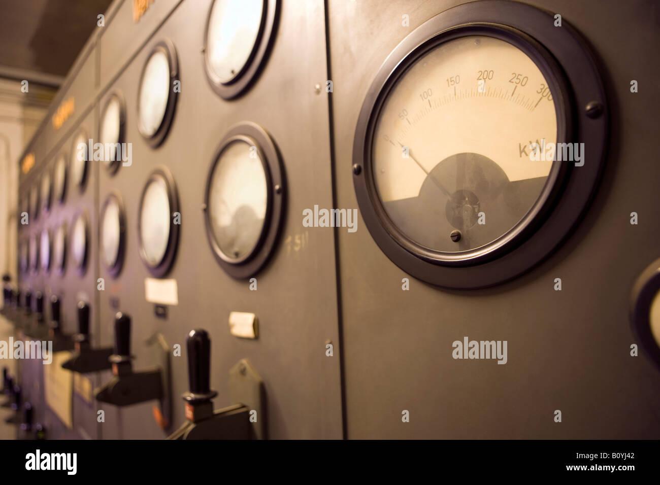 Heating station, indicating instruments - Stock Image