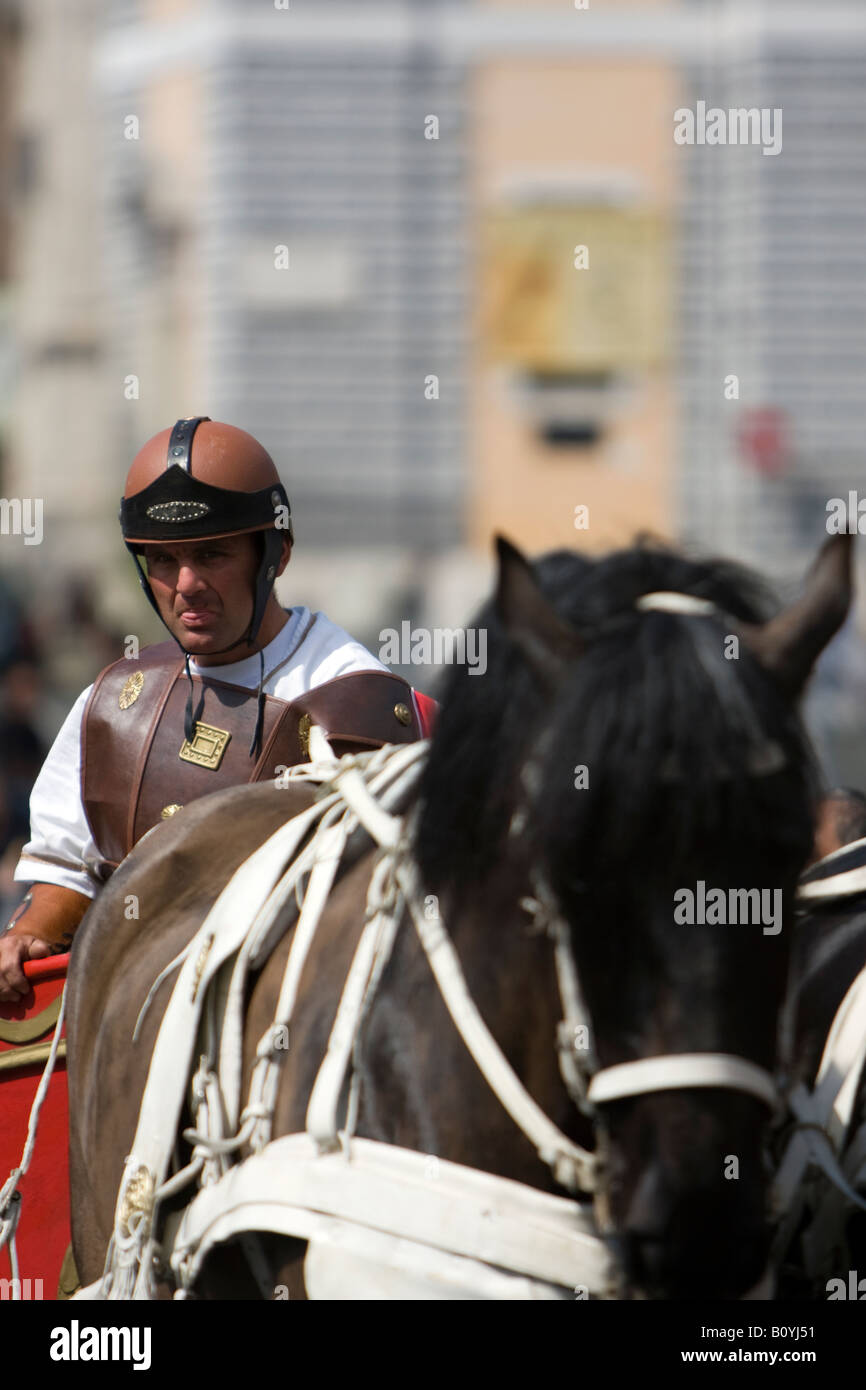 Centurion on a horse in the Piazza del Popolo in Rome, Italy, Roman Centurion, Man dressed as a Roman soldier, Roman - Stock Image