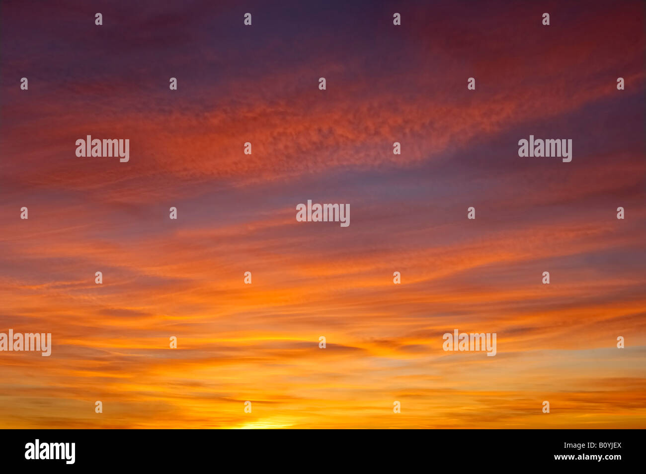 Germany, Immenstaad, Evening sky with afterglow - Stock Image