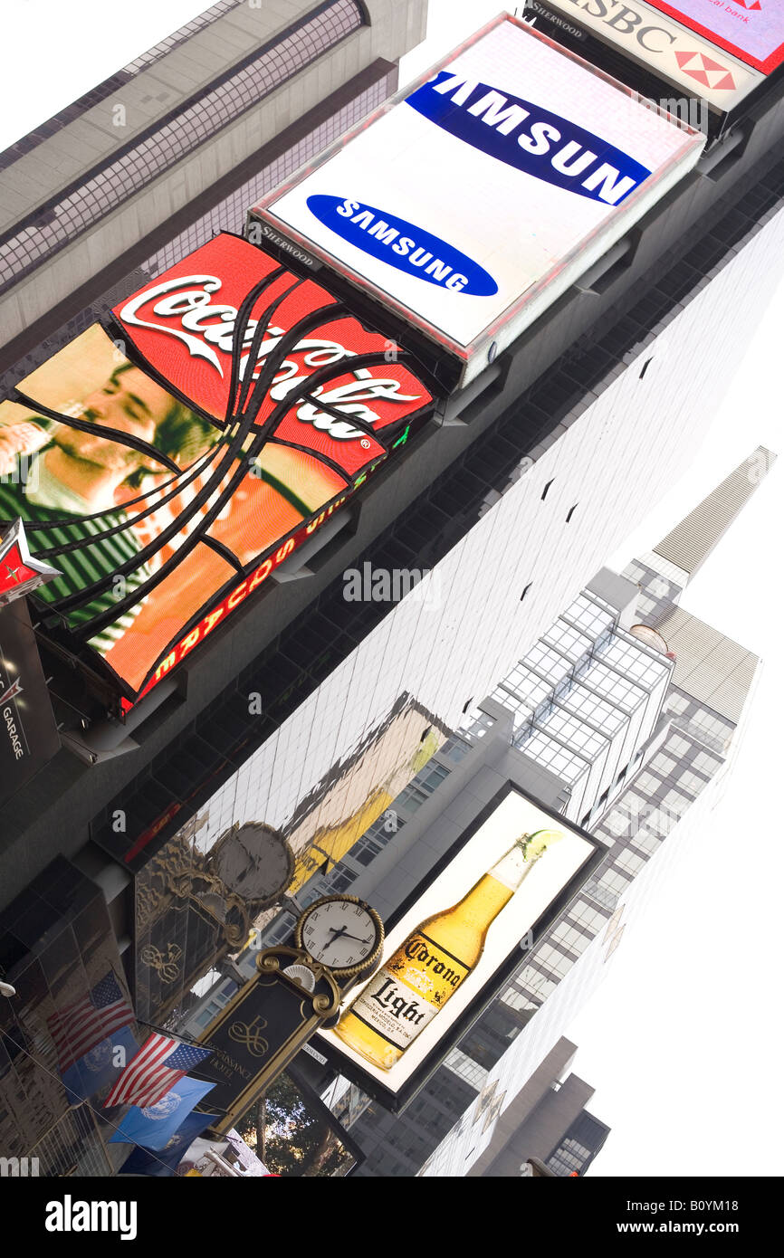Times Square buildings advertising billboards and electronic screens New York City NY USA - Stock Image