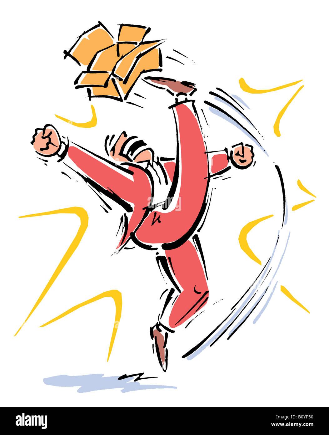 Angry man kicking box - Stock Image