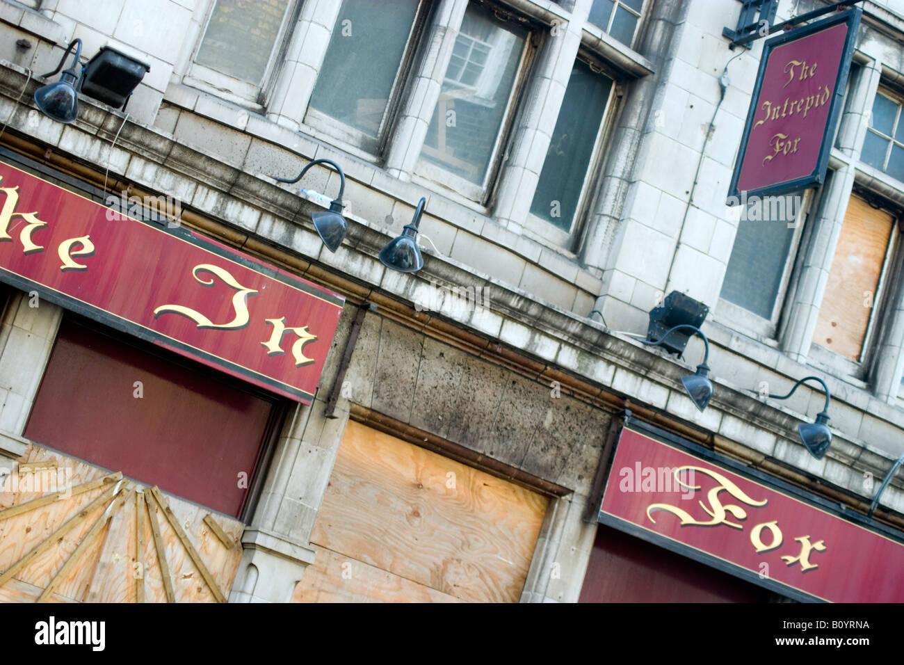 The Intrepid Fox Pub, Wardour Street, Soho, Closed and Boarded Up. - Stock Image