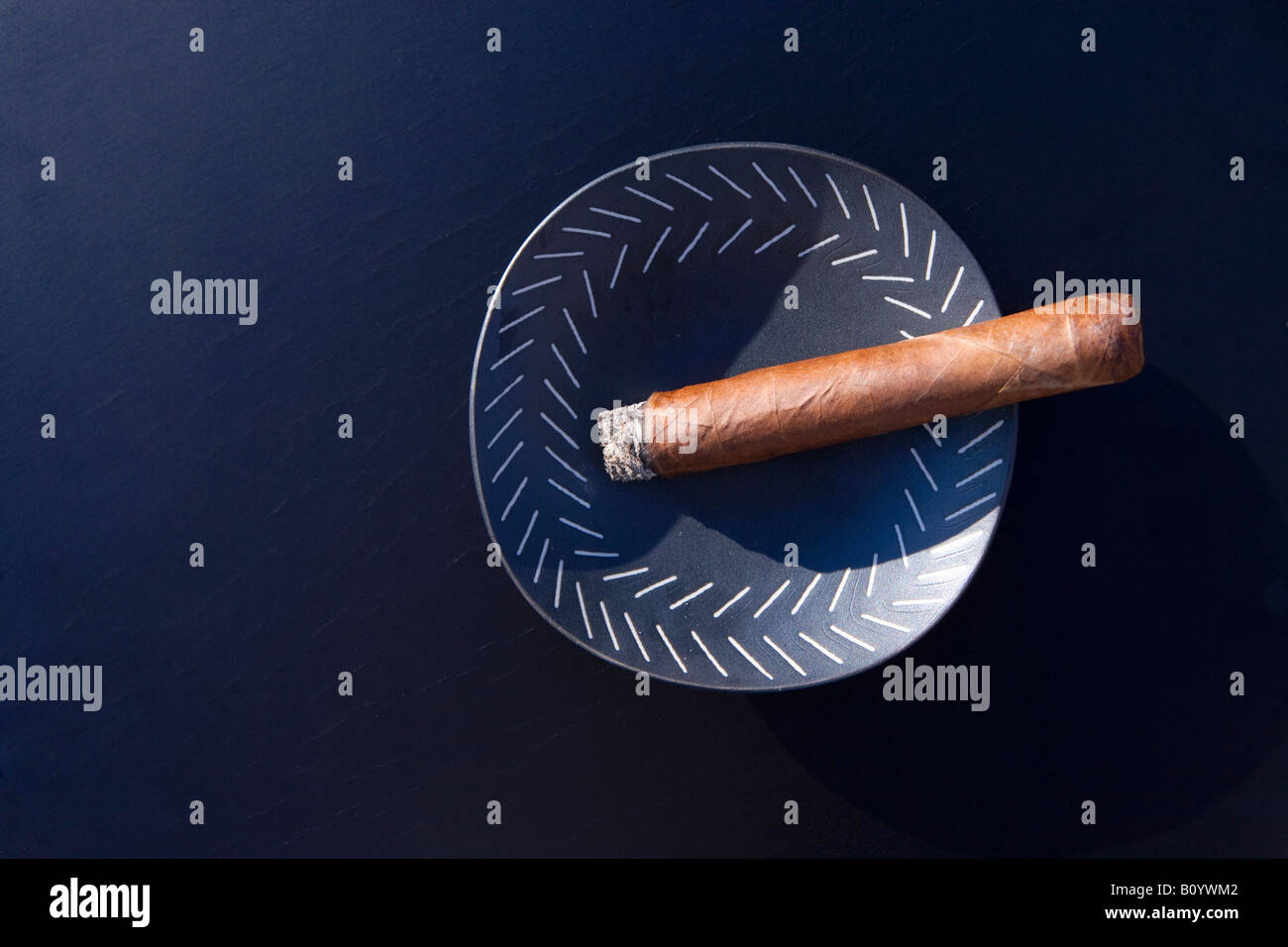 Cigar in ashtray - Stock Image
