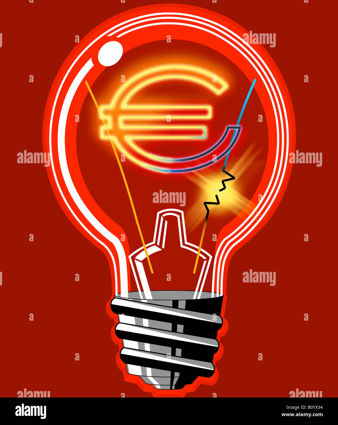 Light bulb with euro sign inside - Stock Image