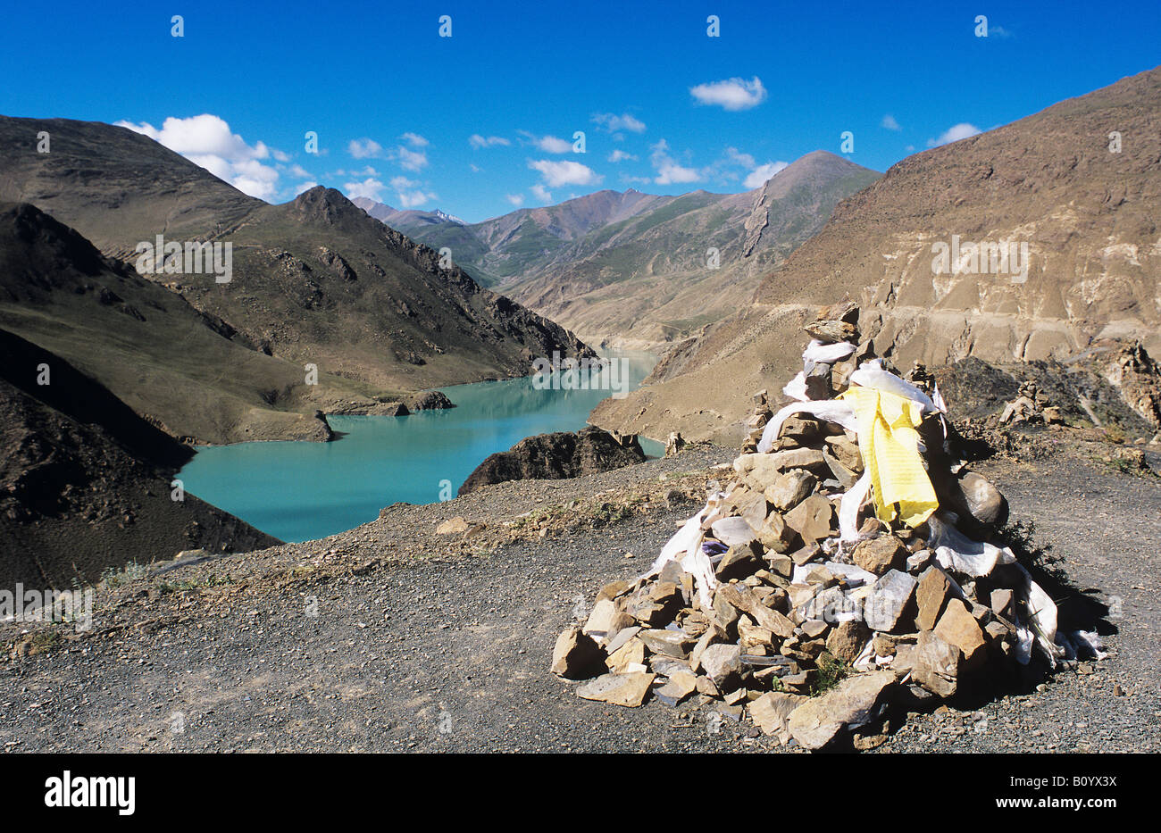 Reservoir at Simelha Pass, Gyantse, Tibet, China - Stock Image