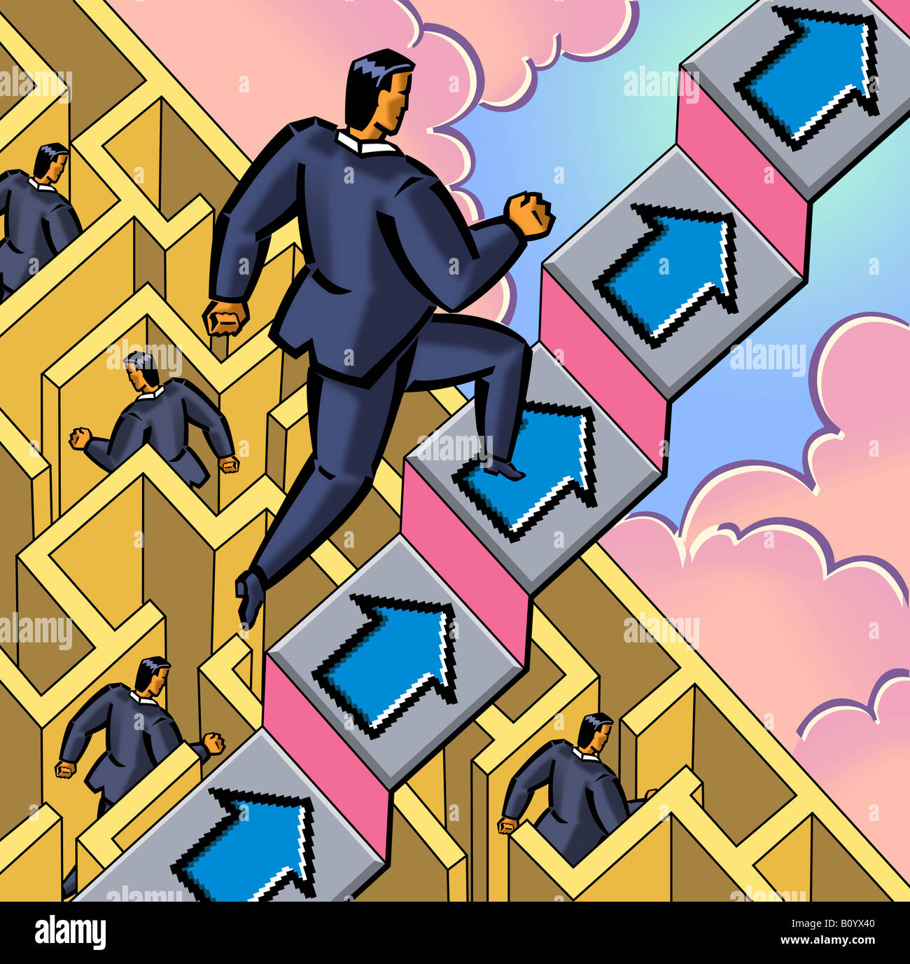 Businessman running up stairs, labyrinth in background - Stock Image