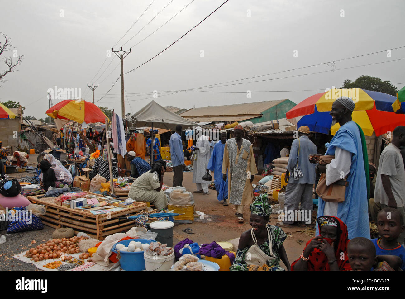 market day in a Gambian village - Stock Image