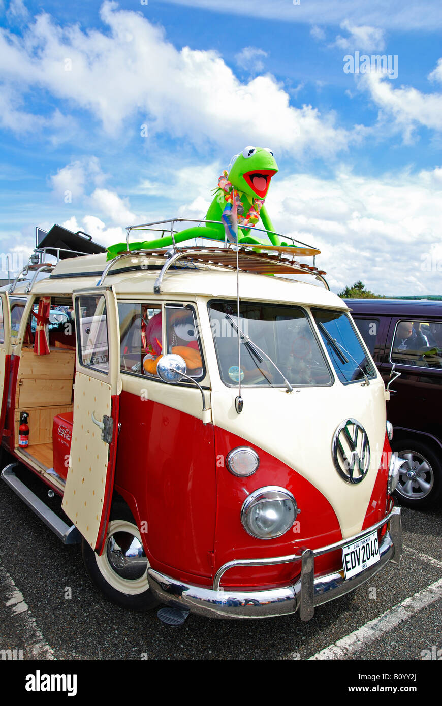 a volkswagen camper van at the annual 'run to the sun' event at newquay in cornwall,england,uk - Stock Image