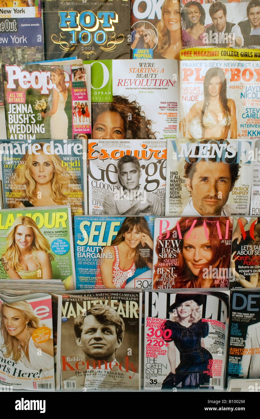 A collection of various magazines on sale - Stock Image