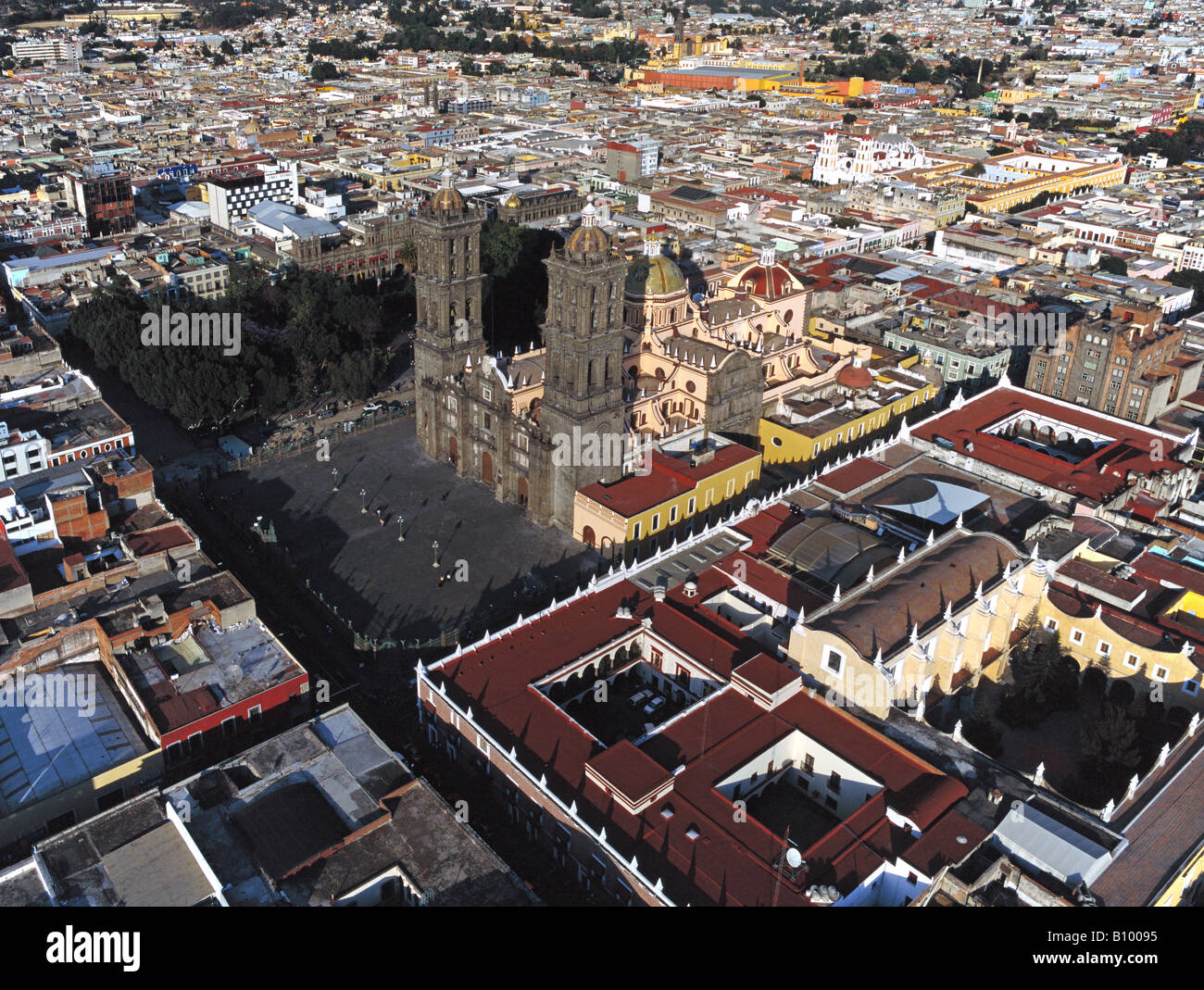 aerial above Puebla Mexico central square and Cathedral of Puebla - Stock Image