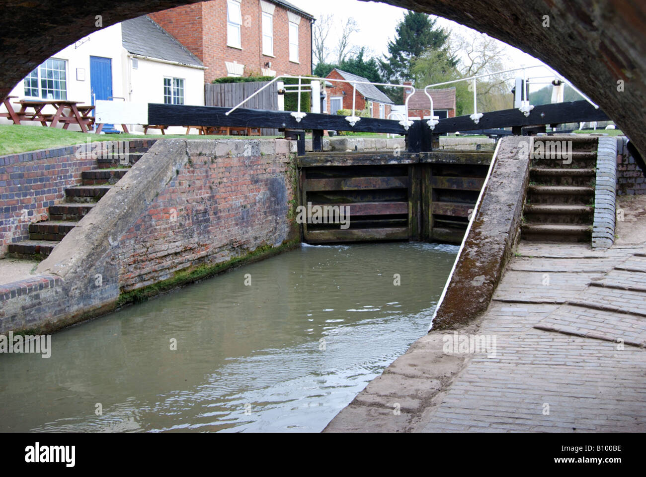 Lock on the Grand Union Canal, Near Braunston, Daventry, Northamptonshire - Stock Image