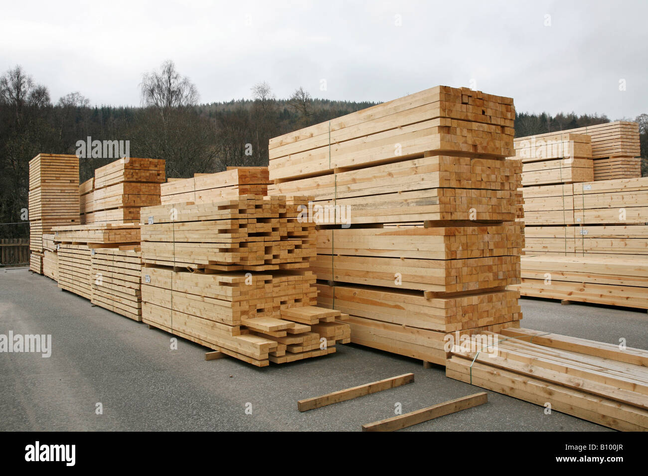Stacked sawn timber planks