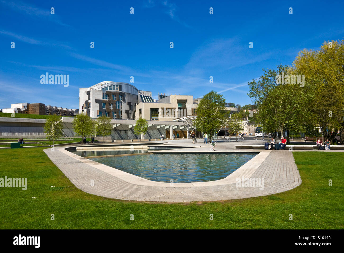The beautiful gardens fronting the Scottish Parliament in Edinburgh Scotland - Stock Image