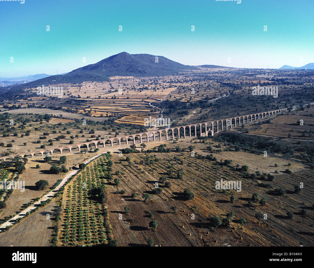 aerial above aqueduct State of Hidalgo Mexico Stock Photo