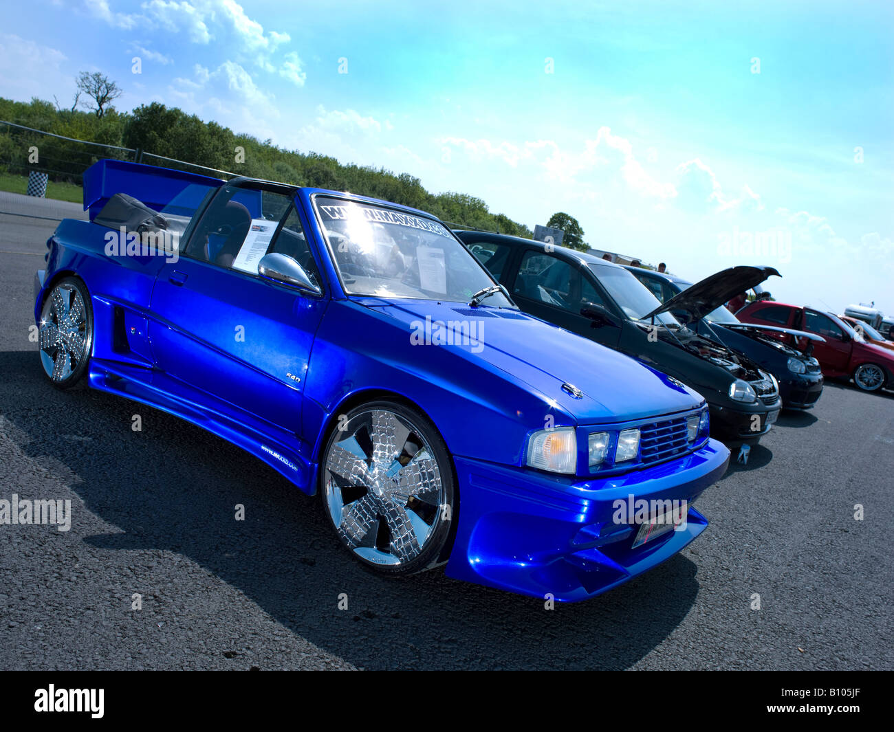 blue chrome modified max power ford escort in metallic blue - Stock Image
