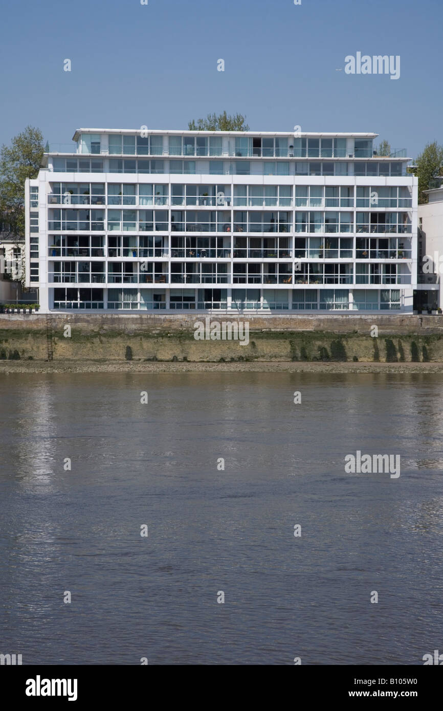 Riverside apartments on Thames at Westminster London UK - Stock Image