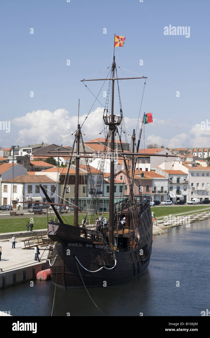 Replica of an old ship used in the discoveries, Vila do Conde, Portugal - Stock Image