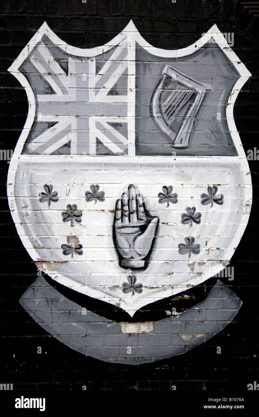 Unfinished small mural depicting loyalist UFF or UDF organisation in East Belfast Northern Ireland - Stock Image
