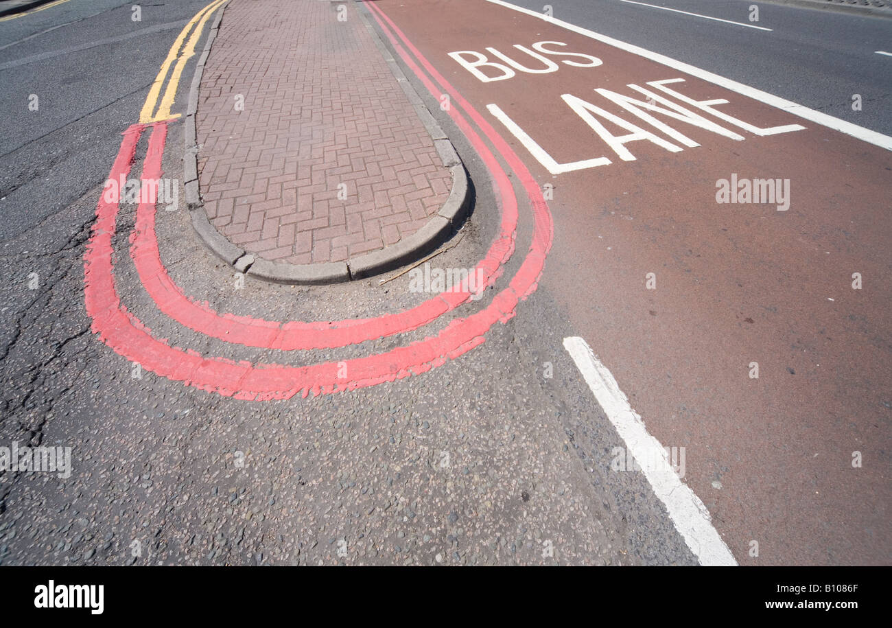 Bus Lane Red Route Nine Elms Vauxhall London UK - Stock Image