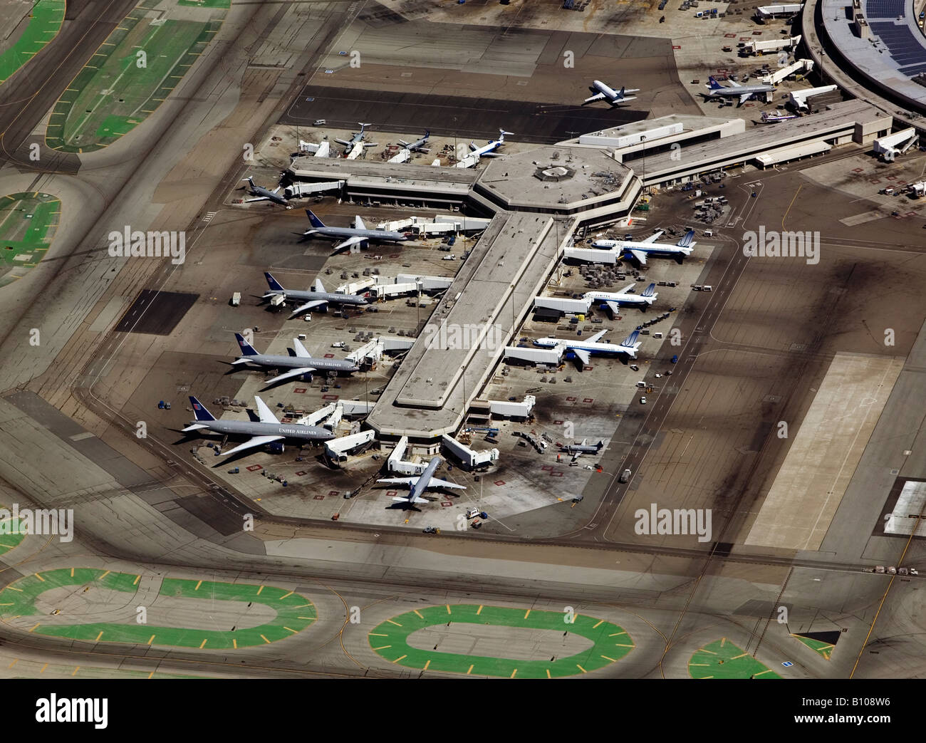aerial above United Airlines terminal San Francisco International airport SFO - Stock Image