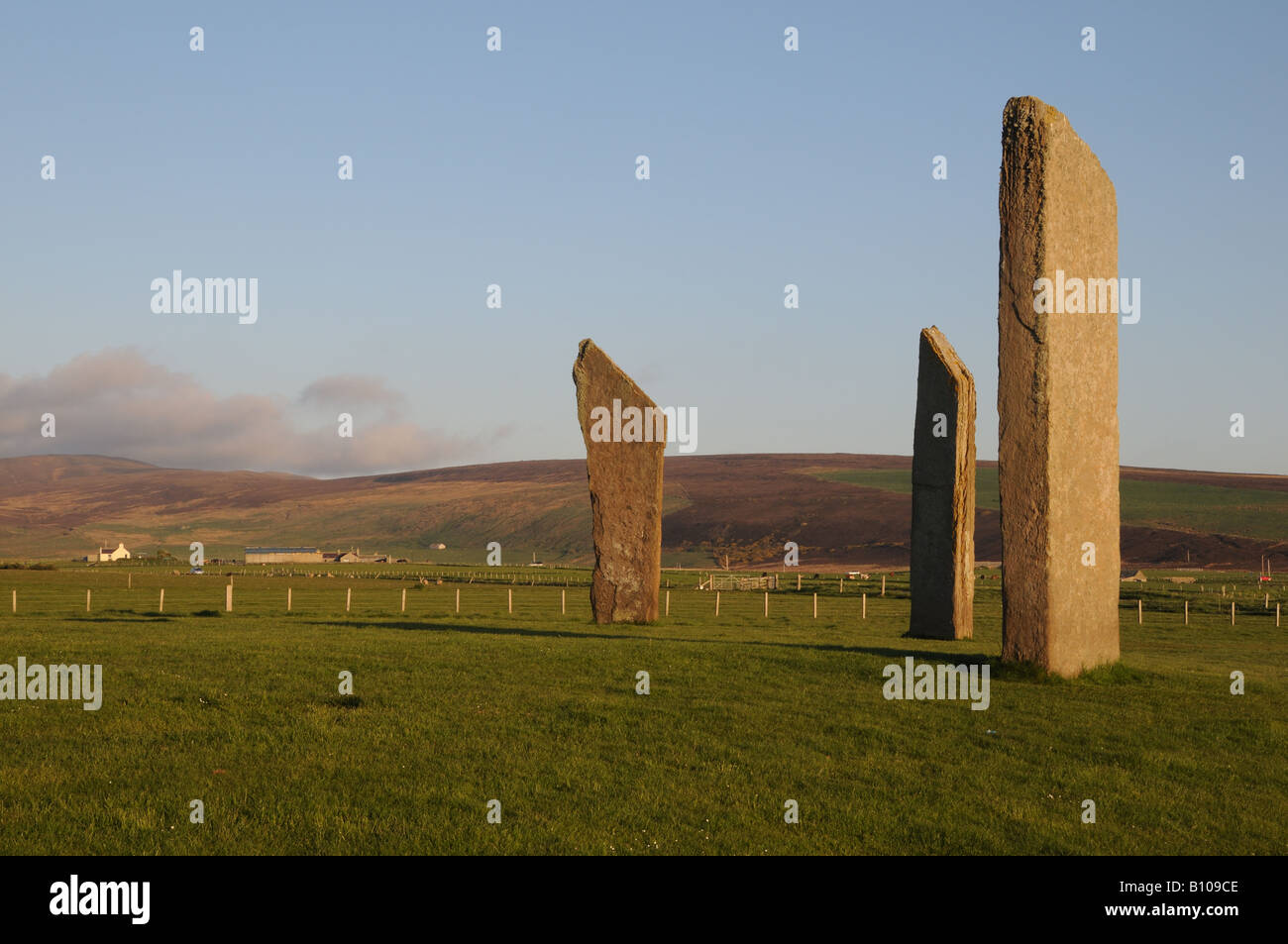Three of the four remaining standing stones of Stenness on Orkney Island in Scotland. - Stock Image