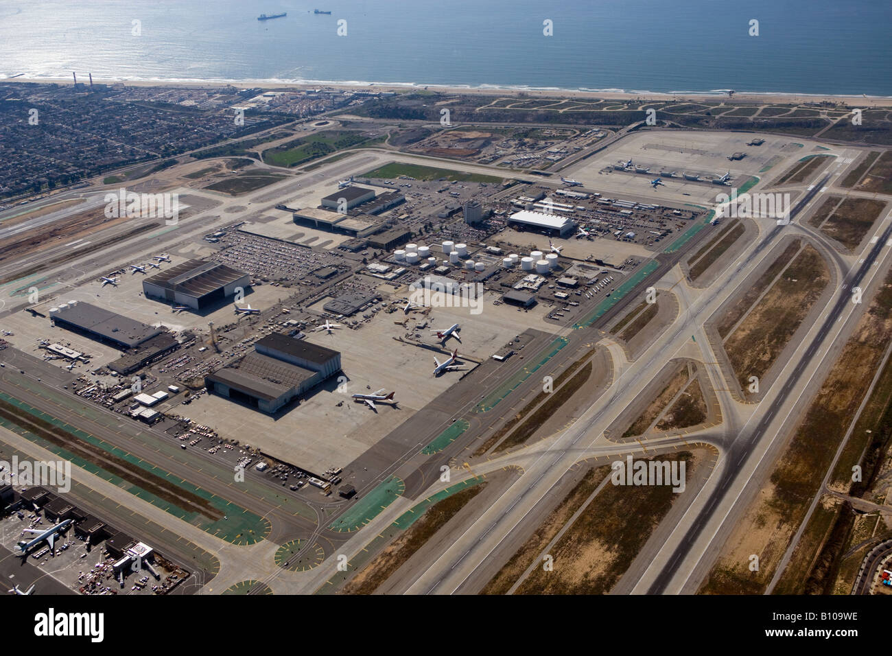 aerial above Los Angeles International airport LAX - Stock Image