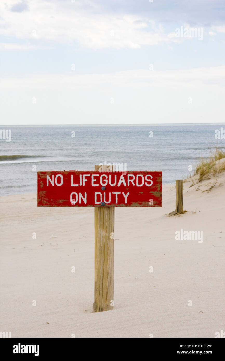No Lifeguard Sign - Stock Image