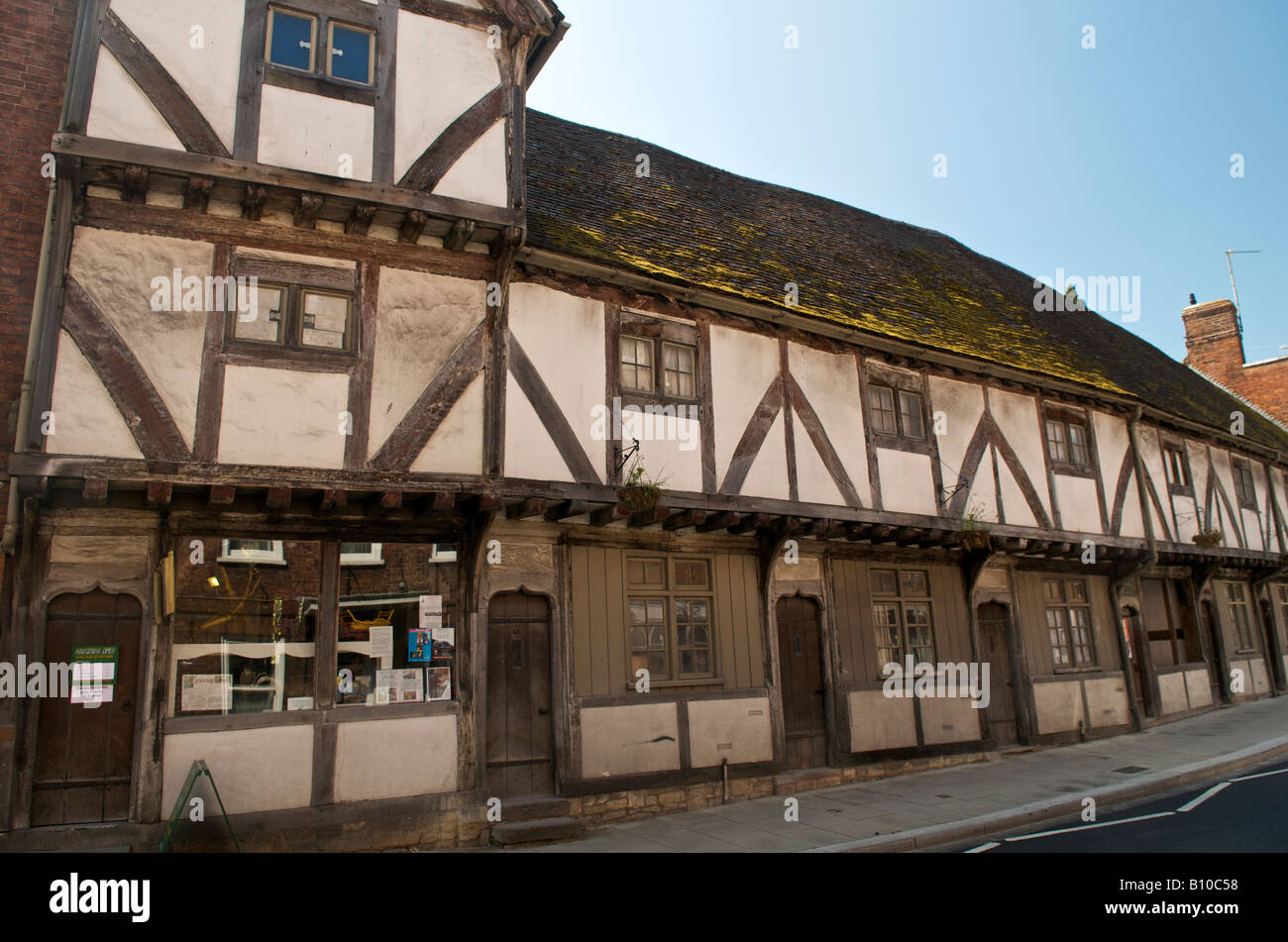 The Merchant's House (Little Museum) and Abbey Row Cottages in Tewkesbury - Stock Image