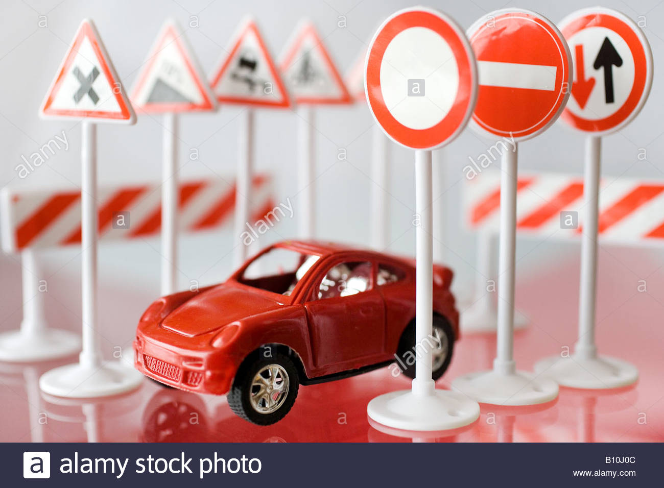model car with traffic signs - Stock Image