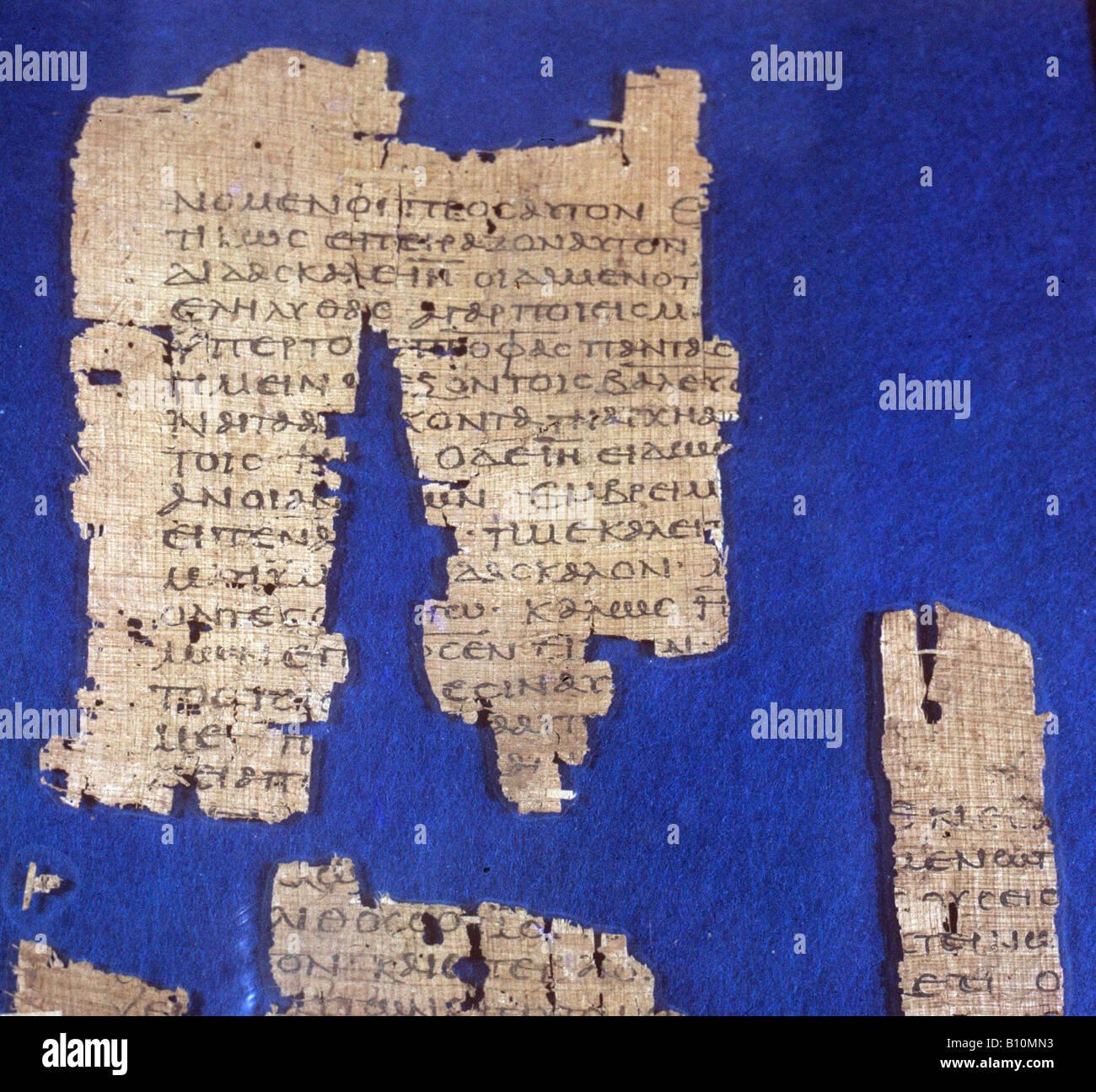 Christian Gospel manuscript. 1st century AD. Egypt Stock Photo